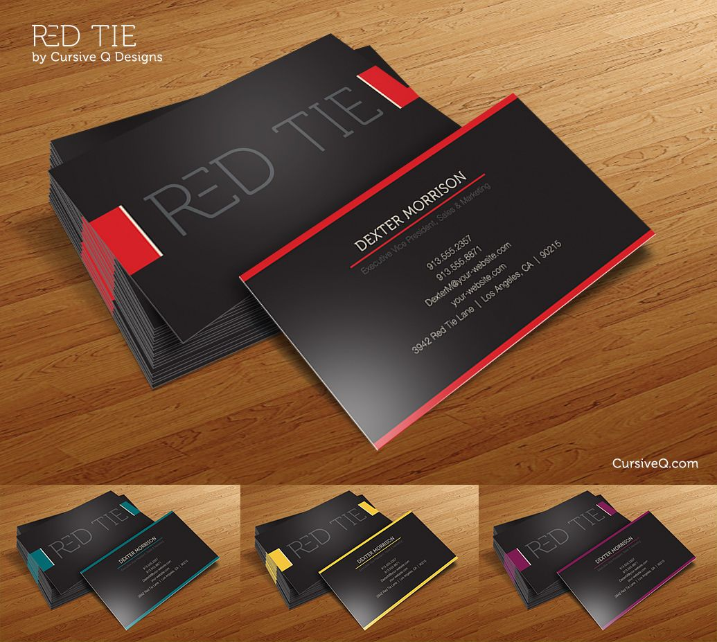 red tie free business card photoshop psd template cursive ...