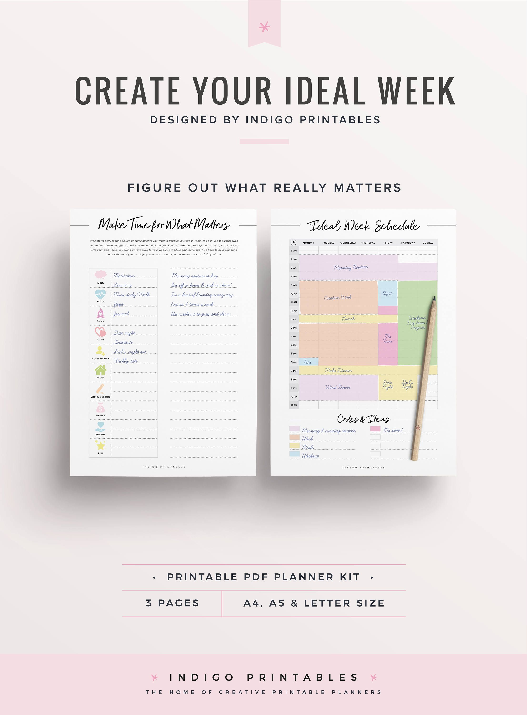 Weekly Schedule  Printable Pages  Created By Indigoprintables