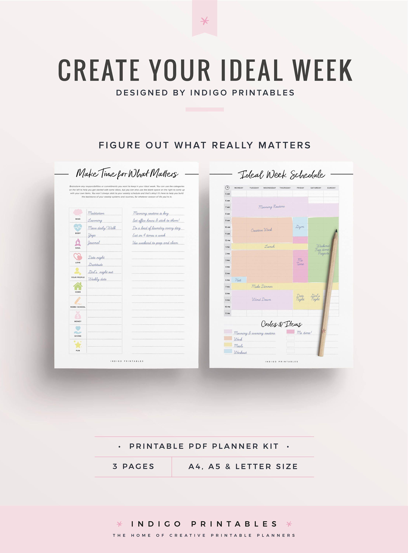 Weekly Schedule Printable Weekly Timetable Ideal Week Worksheet Weekly Organizer Weekly