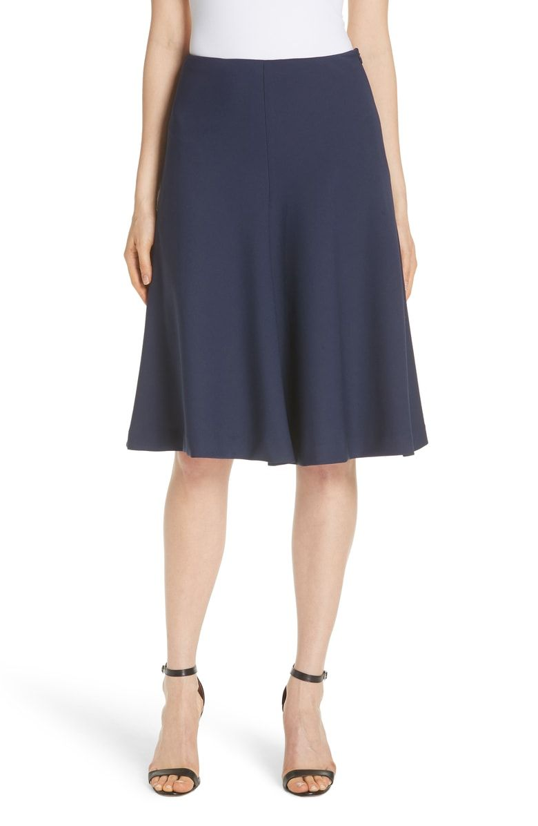 3d6cfcb55f Stretch Crepe Bell Skirt, Main, color, Navy | clothing | Skirts ...