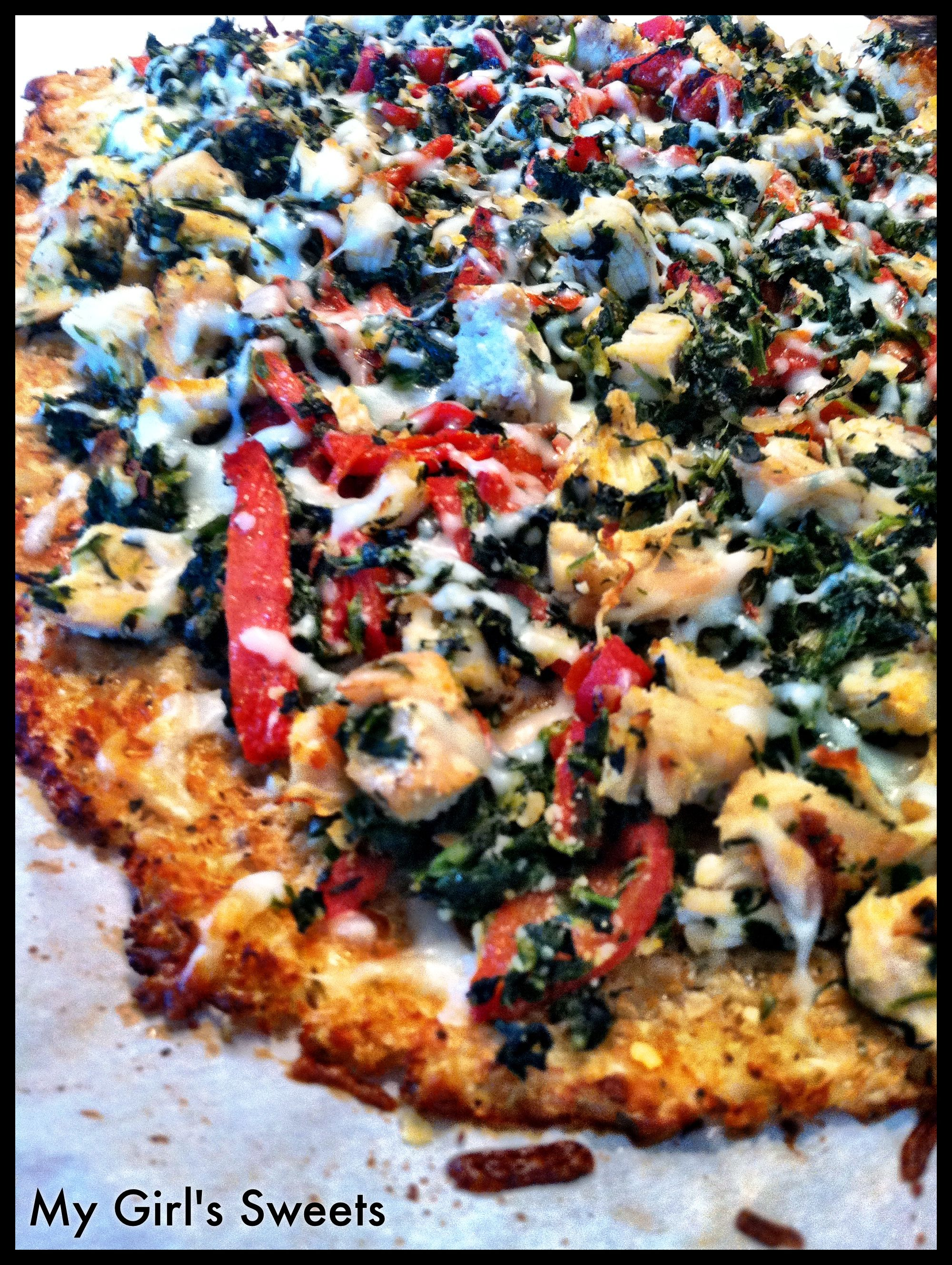 Chicken, Spinach, and Roasted Red Pepper Pizza (Gluten Free)