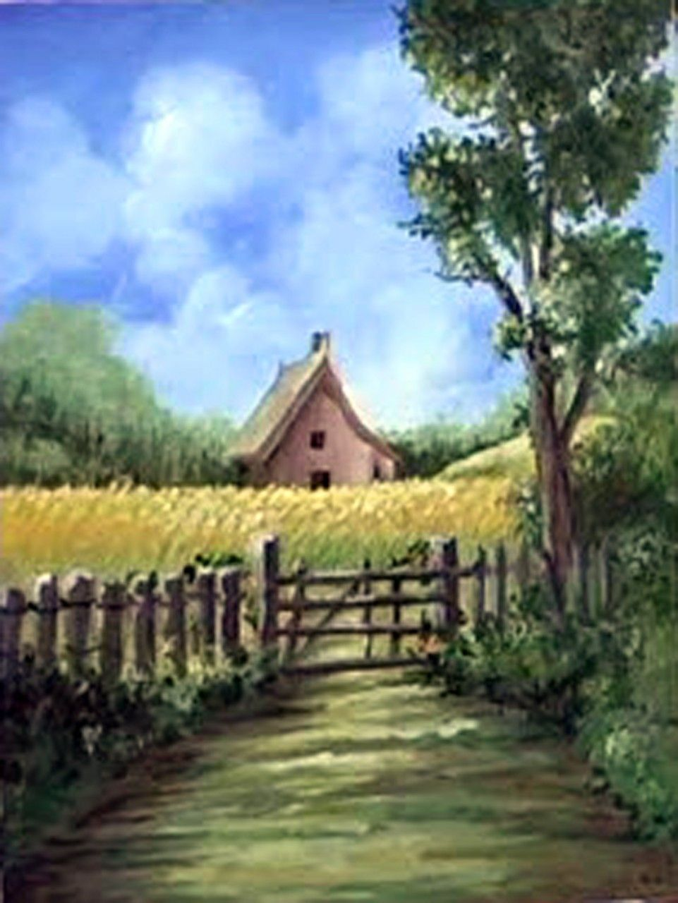 Online Class Landscape Wet In Wet Acrylic Painting Technique Cottage In A Cornfield Direct Painting Landscape Paintings Landscape Paintings Acrylic