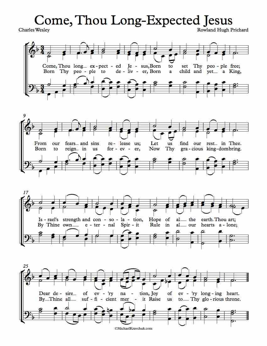 Free Choir Sheet Music Come Thou Long Expected Jesus Free Sheet