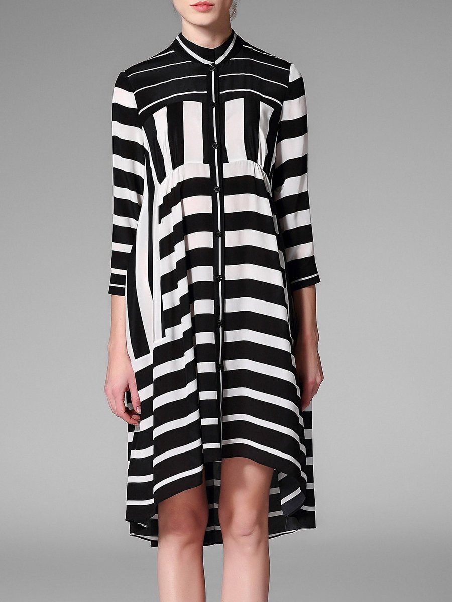 #AdoreWe #StyleWe Designer Midi Dresses - Designer Pokwai Black 3/4 Sleeve  Silk