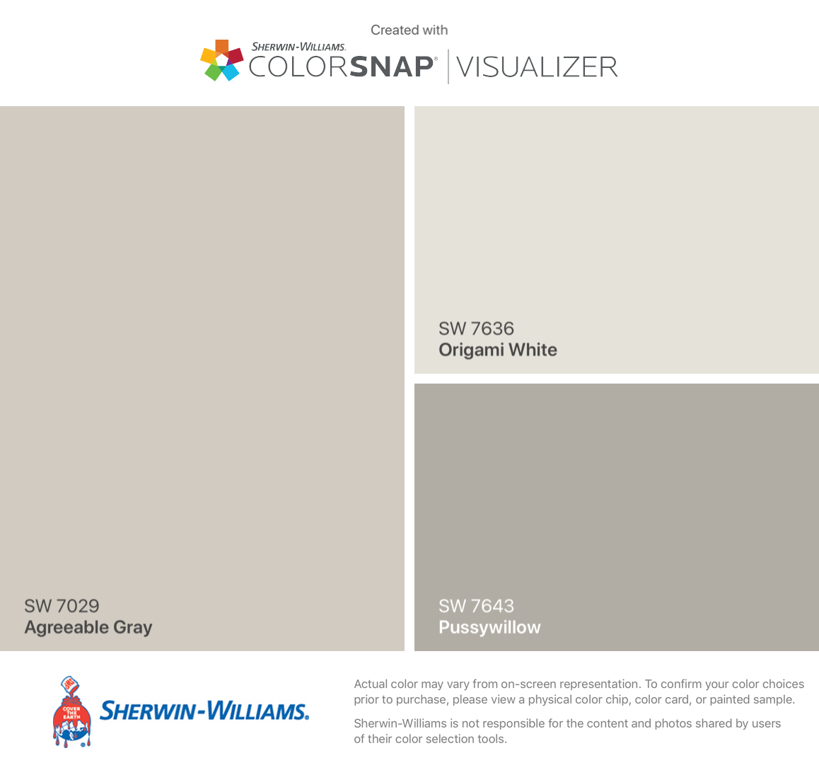 I found these colors with ColorSnap® Visualizer for iPhone by Sherwin-Williams: Agreeable Gray (SW 7029), Origami White (SW 7636), Pussywillow (SW 7643). #sherwinwilliamsagreeablegray I found these colors with ColorSnap® Visualizer for iPhone by Sherwin-Williams: Agreeable Gray (SW 7029), Origami White (SW 7636), Pussywillow (SW 7643). #sherwinwilliamsagreeablegray
