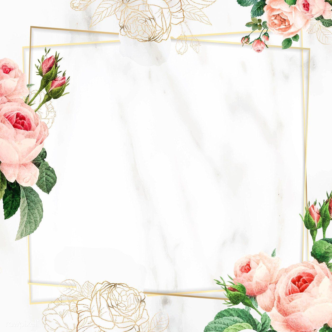 Download Premium Vector Of Blank Golden Square Frame Vector 1216095 Flower Background Wallpaper Square Frames Floral Wreaths Illustration