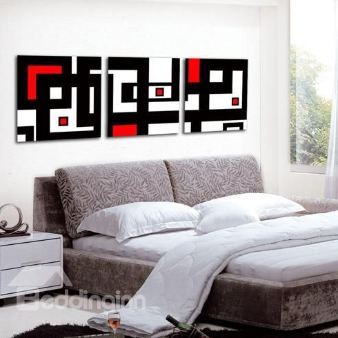 New Arrival Modern Style Abstract Lines Print 3 Piece Cross Film Wall Art Prints Red Wall Art Bedroom Canvas Home Wall Art