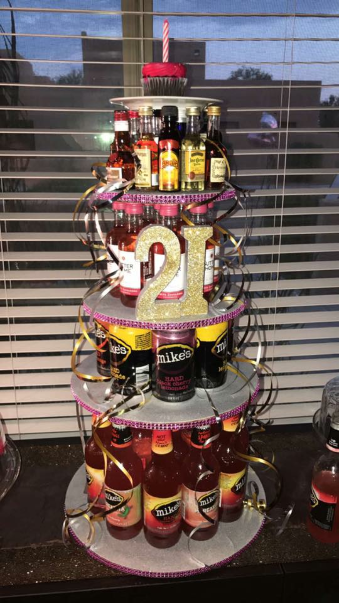 Alcohol tower cake for 21st birthday | 21st birthday party ...