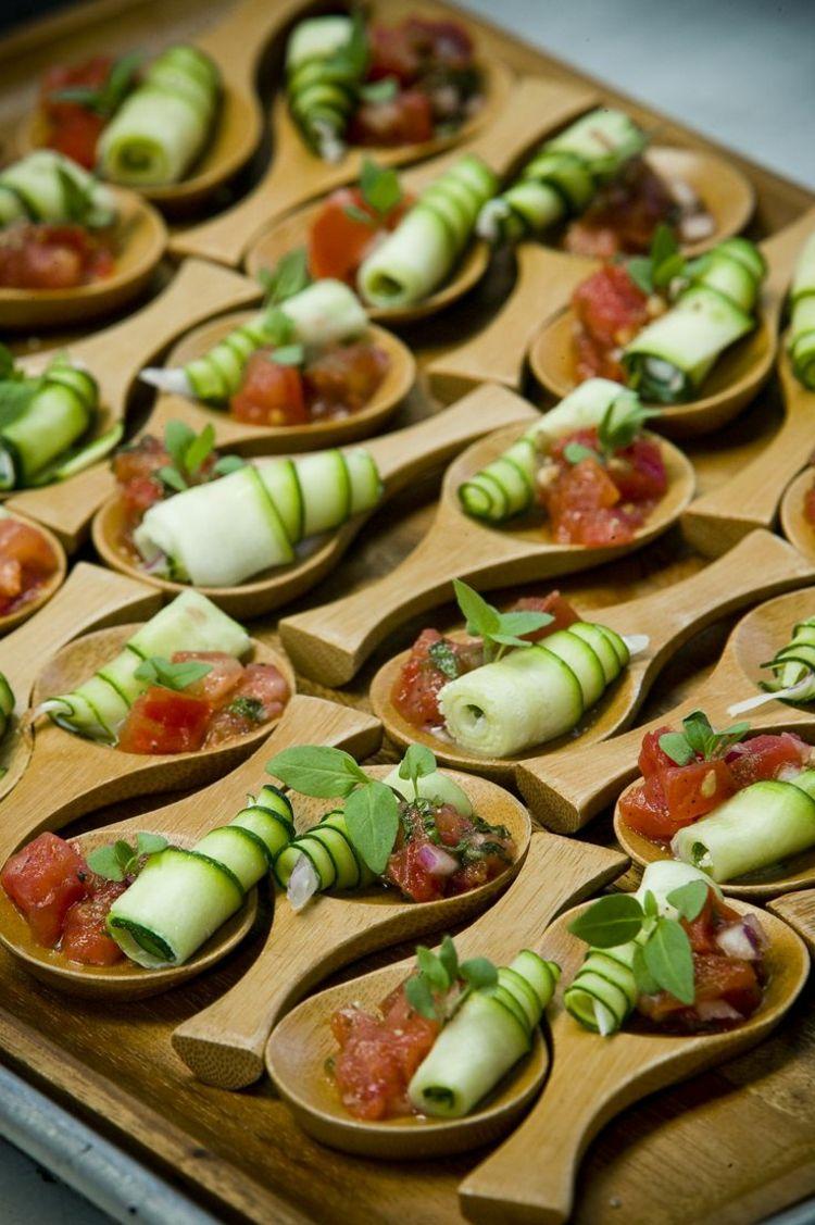 Kalte Platten Garnieren Holz Loeffel Haeppchen Idee Gurken Food