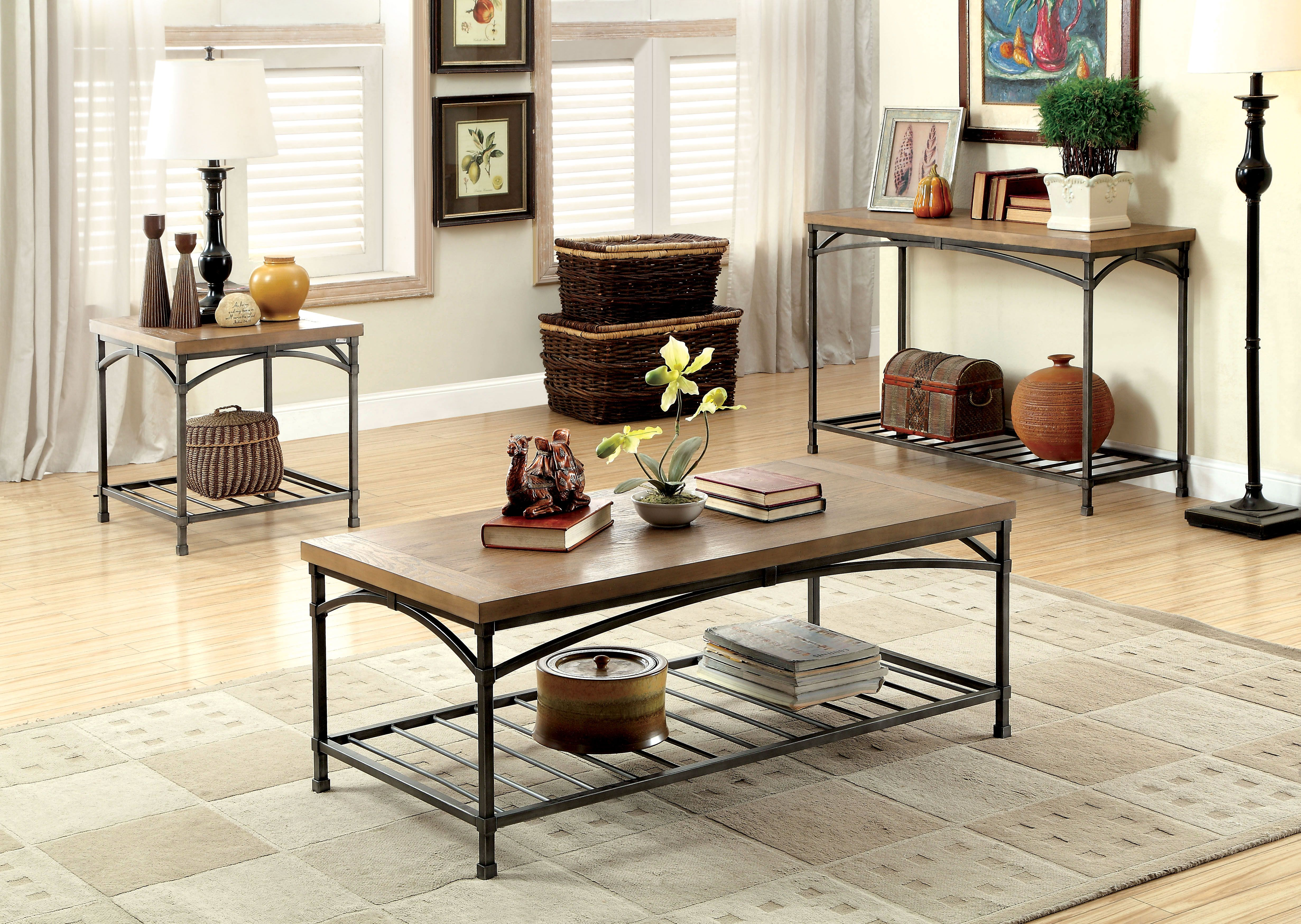 Furniture Of America Chrome Exia Metal 3 Piece Accent Table Set Silver Coffee Table Living Room Coffee Table Oak Coffee Table [ 3498 x 4923 Pixel ]