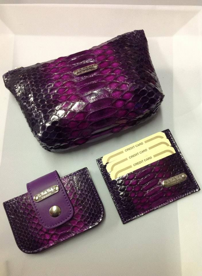 .. Python leather by La Bella Dolly Firenze. document holder, credit card holder, make up holder………… handmade in Italy.