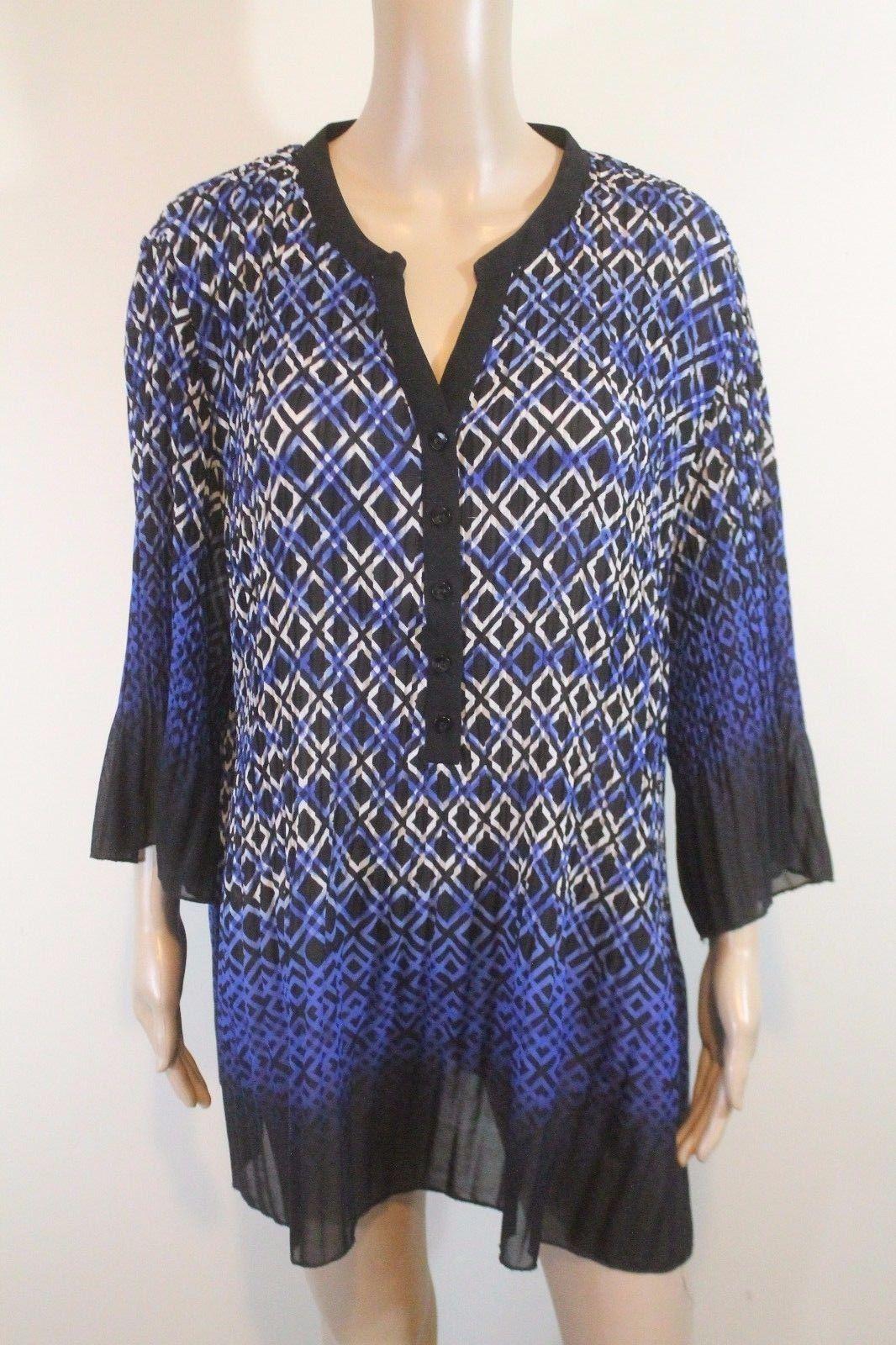 Catherines crinkle bell sleeve tunic peasant top x blue black