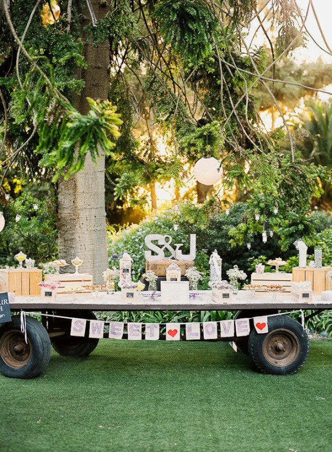 Dessert and candy bar was set up on an old farm hay cart | Fab Mood #dessertbar