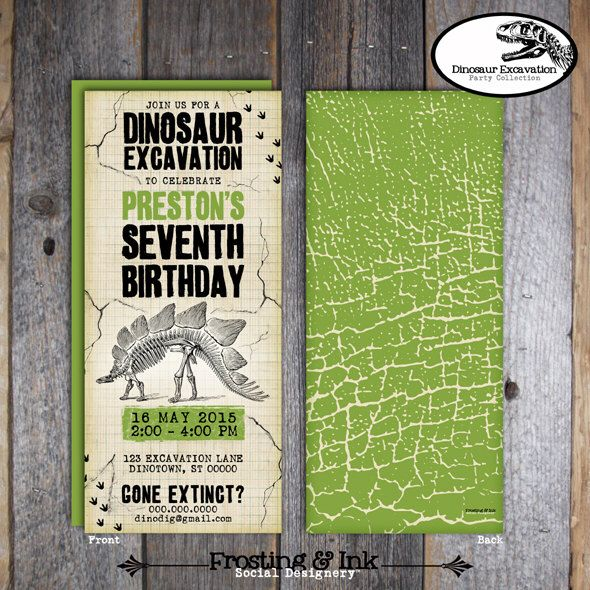 Dinosaur Invitation Dinosaur Party Invitation Dinosaur