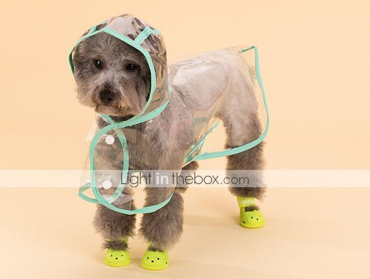 Gato Cachorro Capa de Chuva Roupas para Cães Sólido Branco Roxo ...