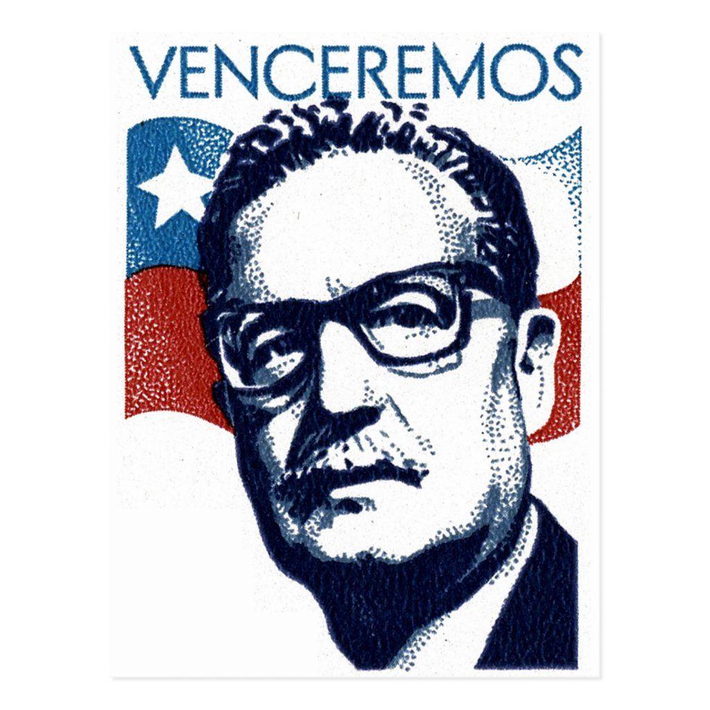 Salvador Allende Venceremos Postcard Zazzle Com In 2021 Stamp Printing Stamp Rare Stamps