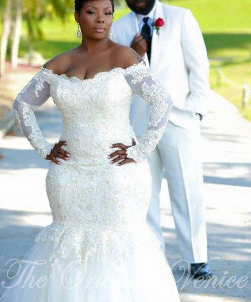 Vintage Lace Mermaid African Wedding Dress Plus Size Long Sleeves ...