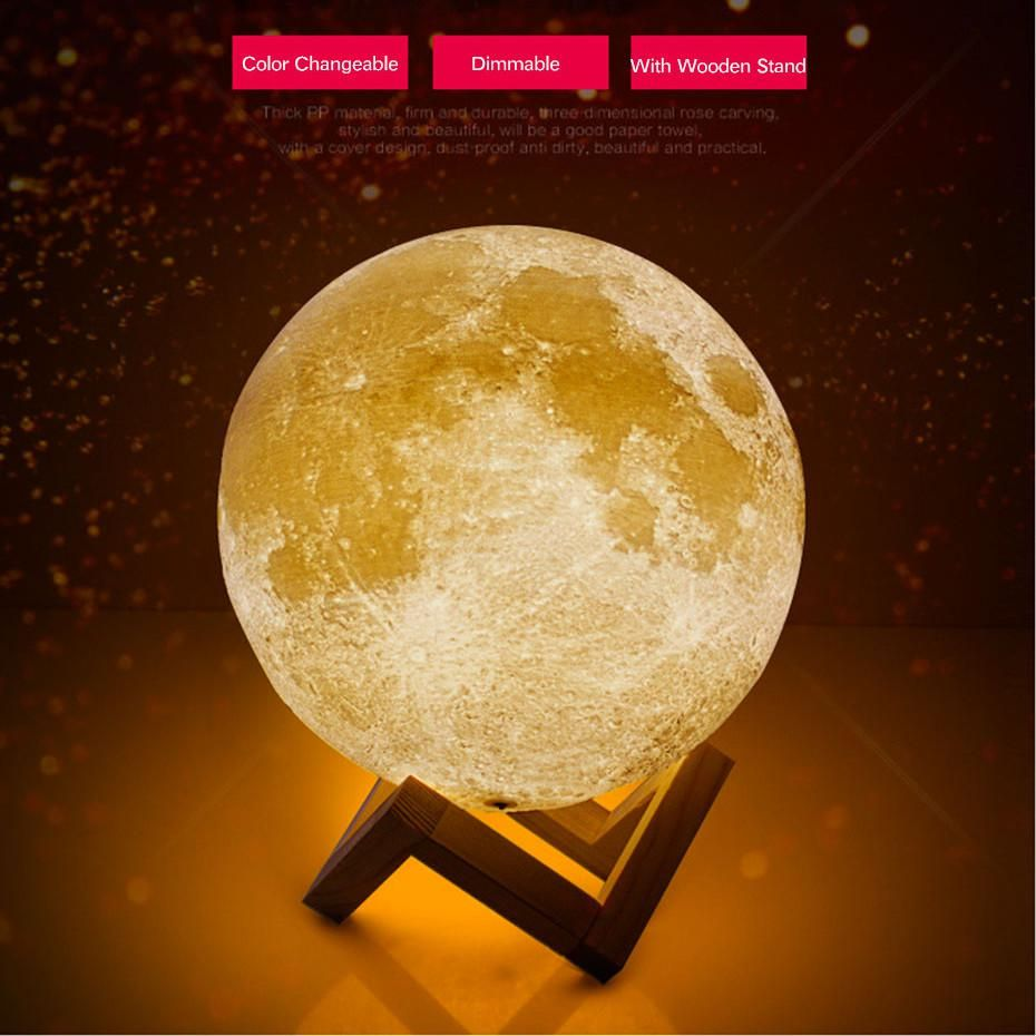 Dbf 20cm Dia Rechargeable 3d Print Moon Lamp 2 Color Change Touch Switch Bedroom Bookcase Night Light Home Decor Creative Gift Night Light Lamp Wooden Stand