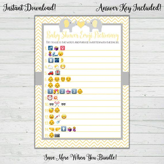 Emoji Pictionary Baby Shower Game Elephant Gender Neutral Baby