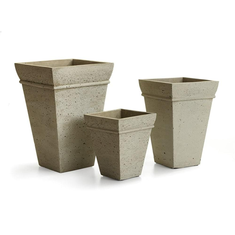 Concretelite Cailen Square Tall Pots Set of 3 By Napa