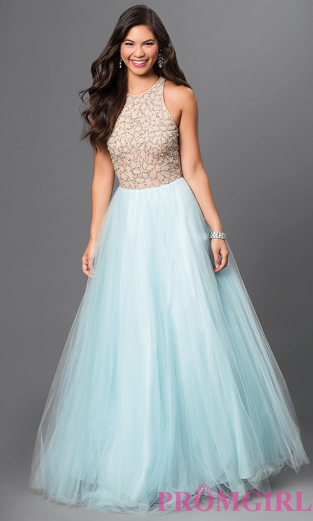 Image of Long Sky Blue Beaded High Neck Prom Dress Front Image ...