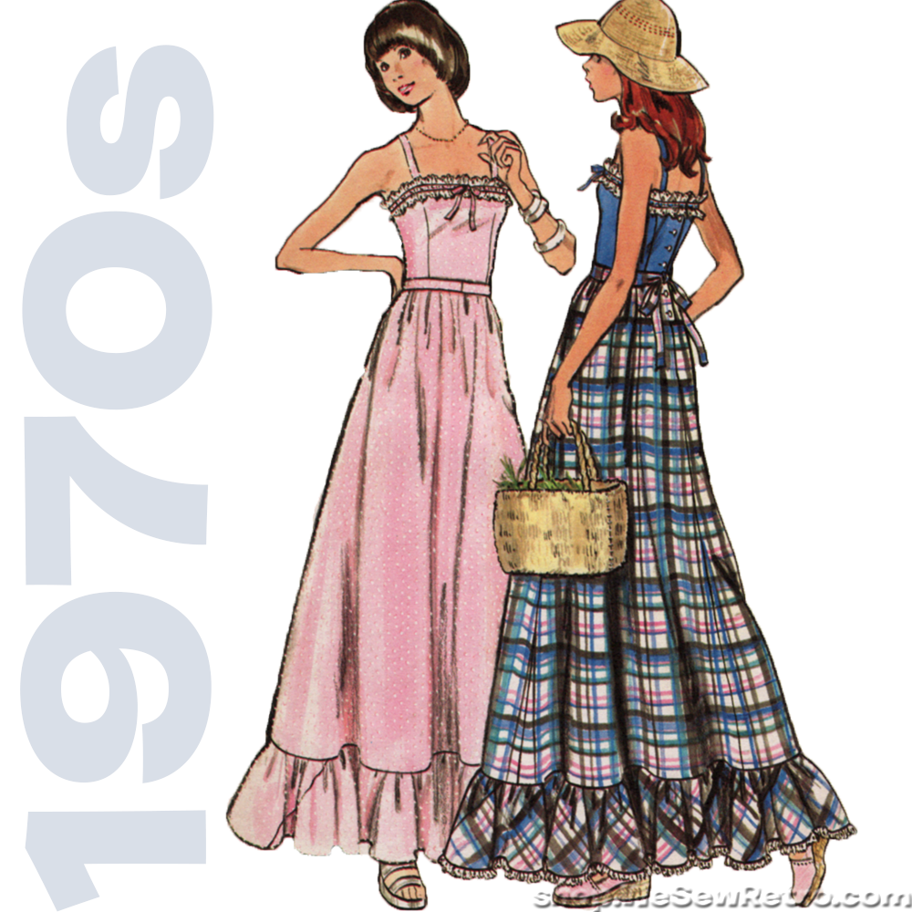 1970s maxi dress vintage sewing pattern butterick 3656