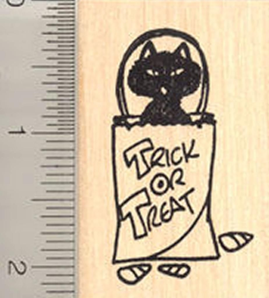 Cute Trick Or Treat Cat Rubber Stamp Stamp Trick Or Treat Cats