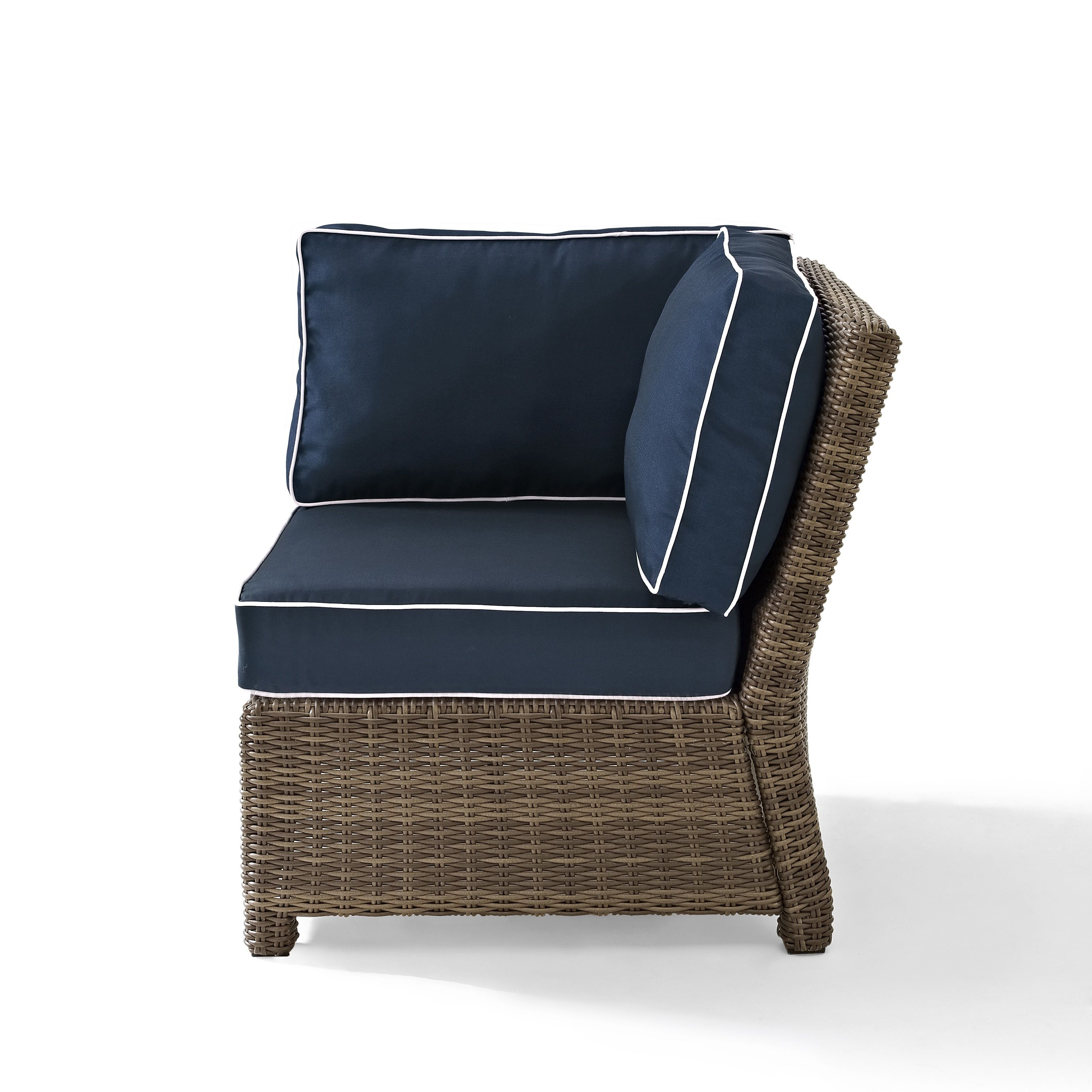 Crosley Furniture Bradenton Outdoor Sectional Corner Chair With Navy  Cushions , Patio Furniture