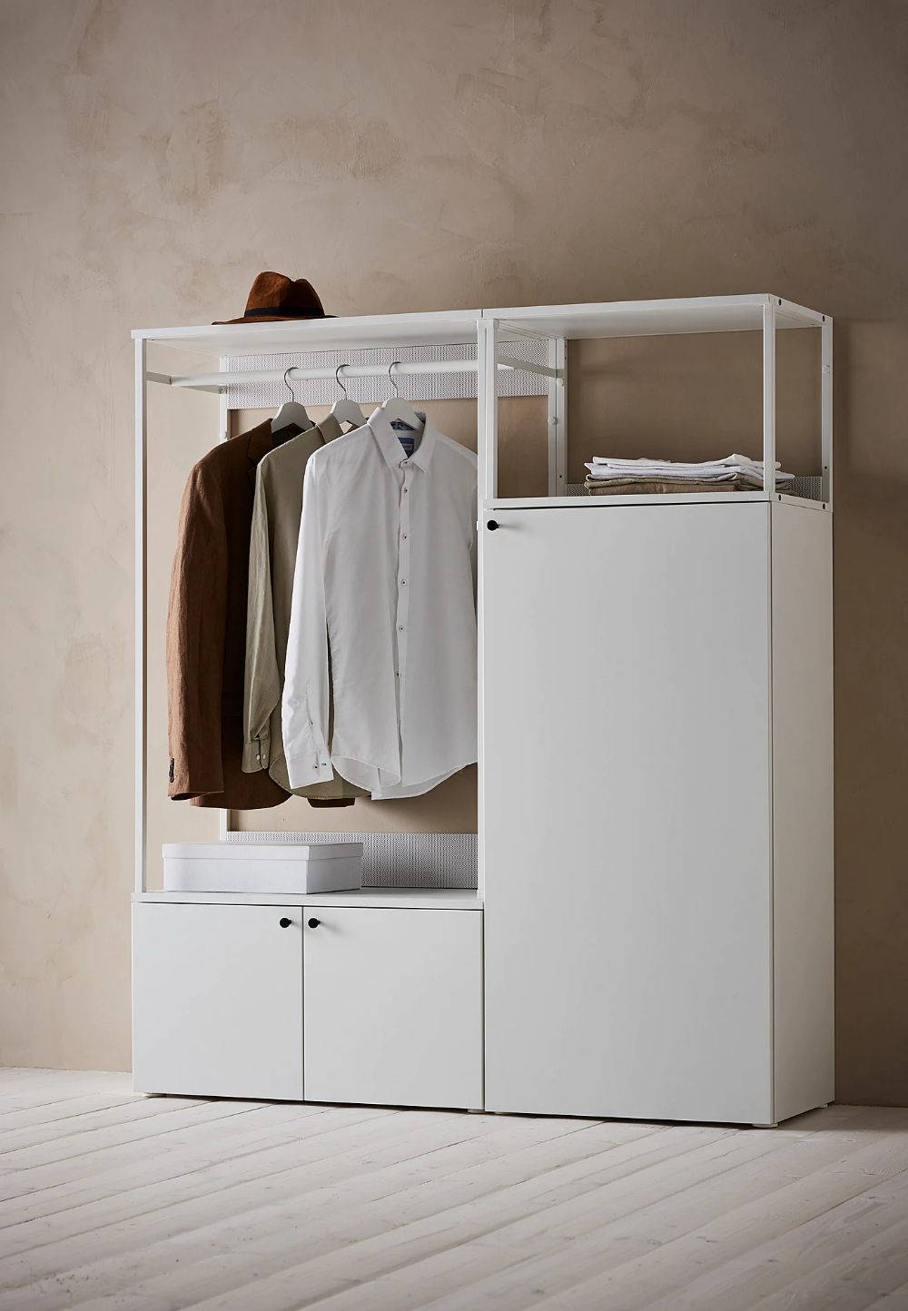 Platsa Wardrobe With 3 Doors White Fonnes White 140x42x161 Cm In 2020 Ikea Open Shelving Units Home Office Space