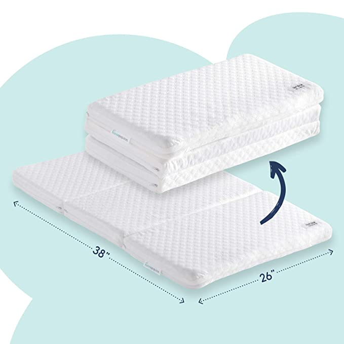 Amazon Com Hiccapop Tri Fold Pack N Play Mattress Pad With Firm For Babies Soft Toddlers Sides P Pack N Play Mattress Pack And Play Crib Pack And Play
