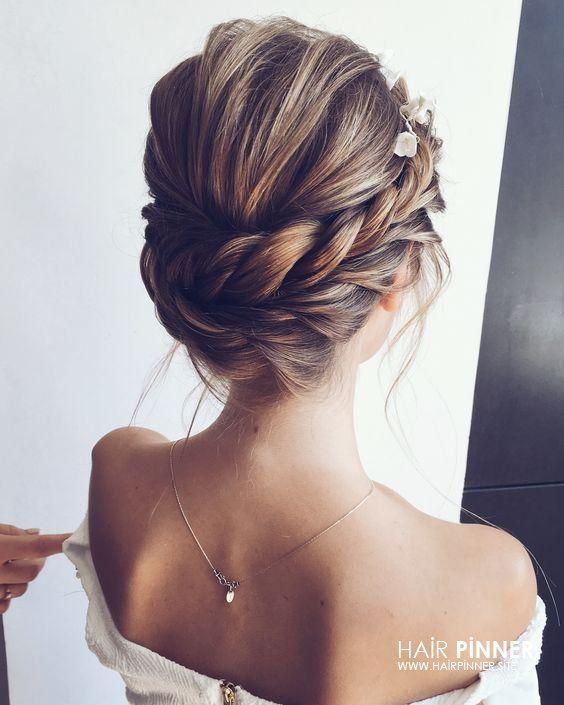 Frisuren Hochzeit Frisur Hochgesteckt Elegante Hochzeitsfrisur Schwarze Zopfe