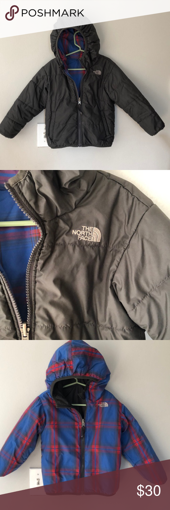 North Face Reversible 4t Coat Gray Blue And Red The North Face North Face Jacket Clothes Design [ 1740 x 580 Pixel ]