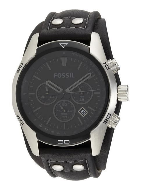 3f7b9f6ac620f Fossil Men s CH2586 Sports Chronograph Leather Cuff Black Dial Watch ...