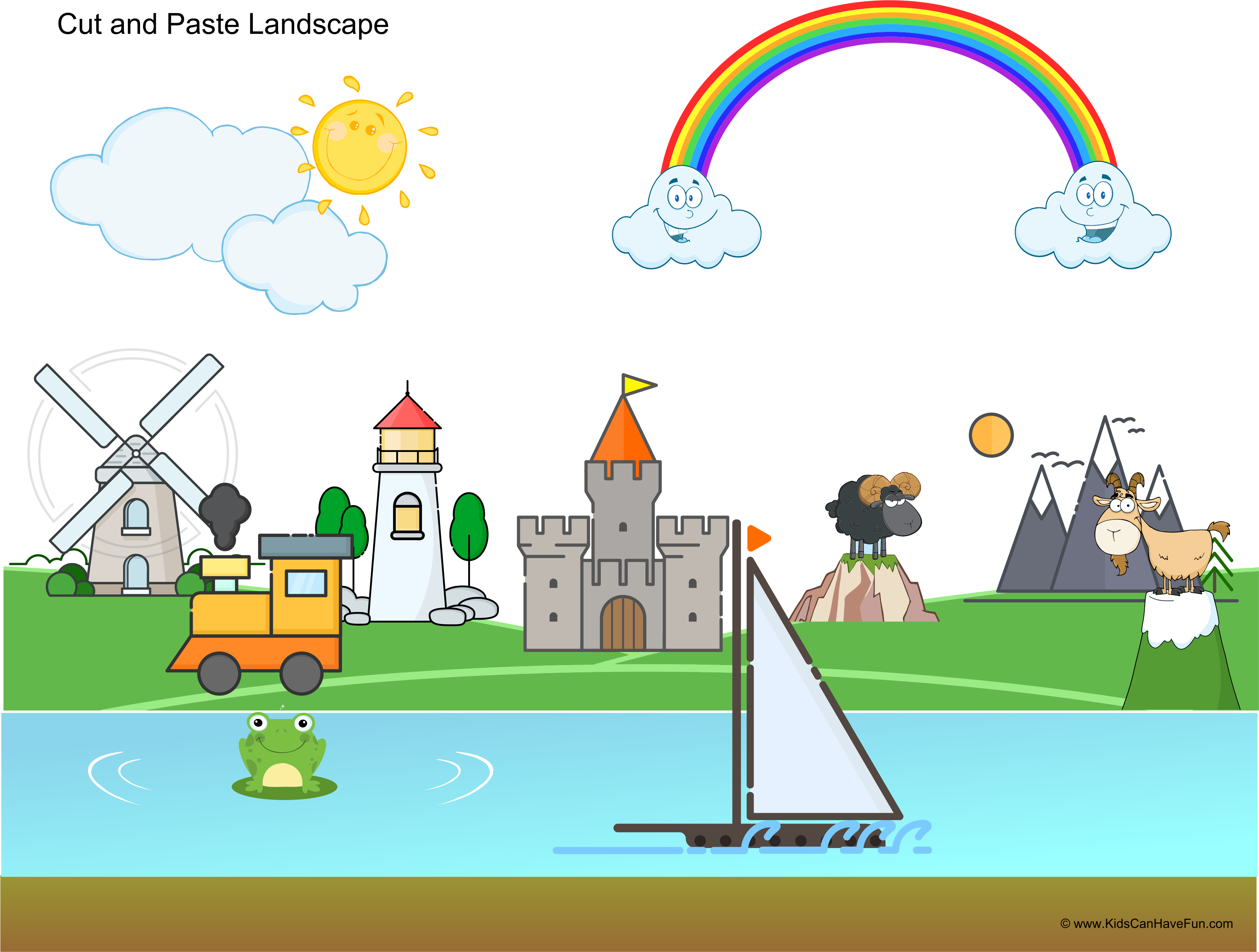Cut And Paste Landscape Activity For Kids Cut Out The Pictures To Create A Landscape
