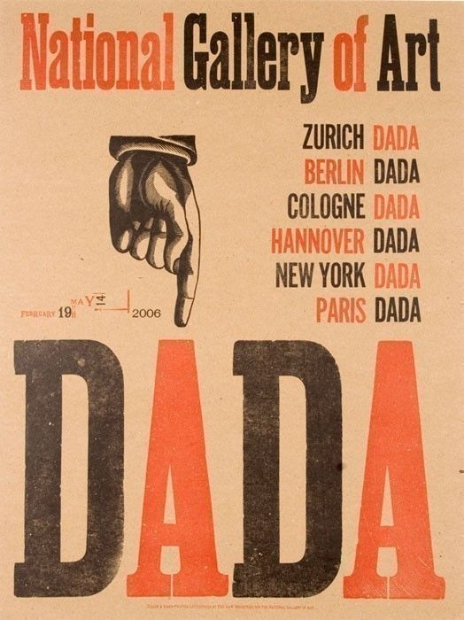 dada pointy finger hand pulled letterpress poster print create