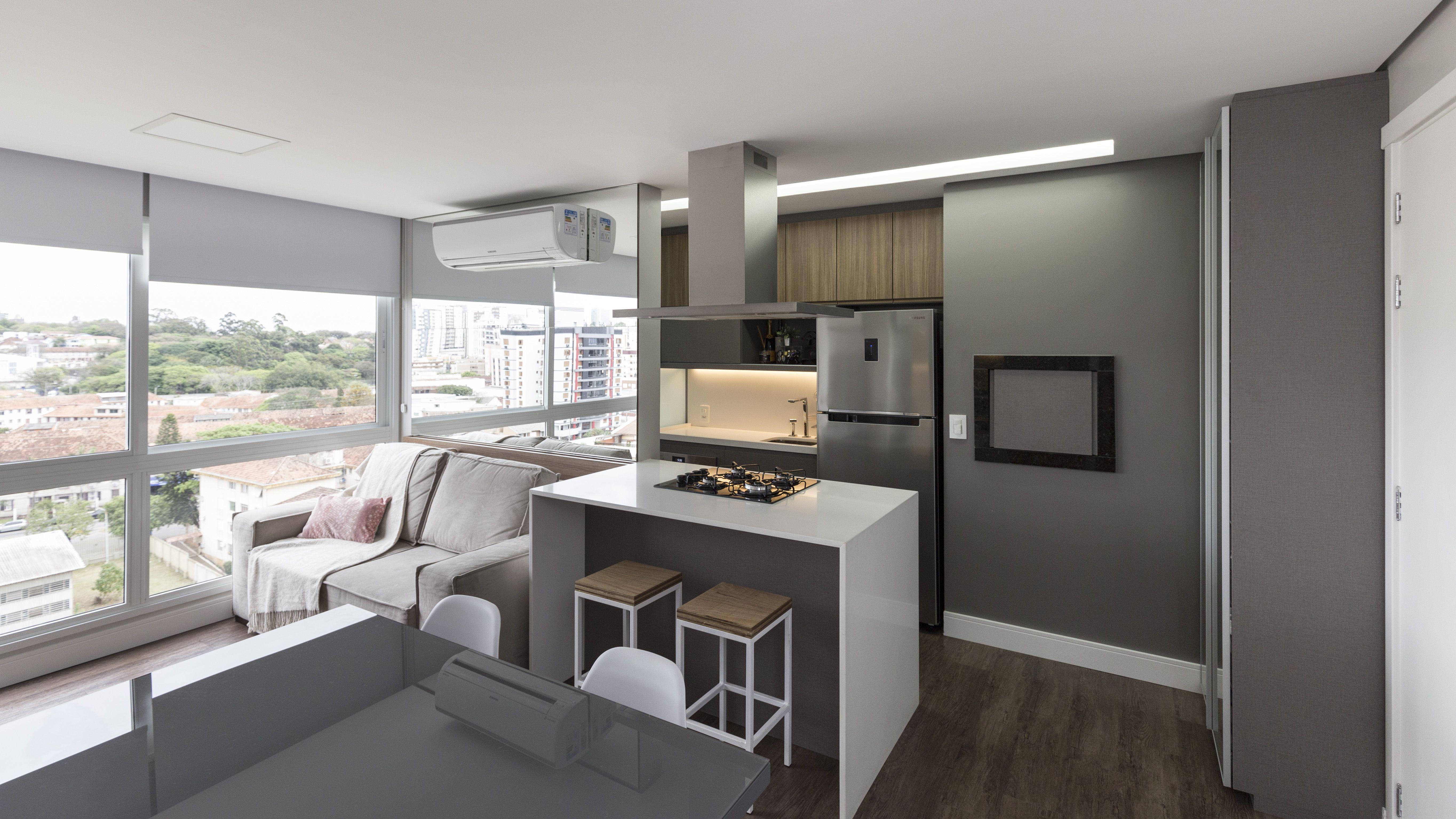 Bancada Que Une Sala De Jantar A Cozinha Moderna E Funcional