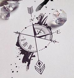 Compass Clock Tattoo Ink Tattoos Compass Tattoo Tattoo Drawings