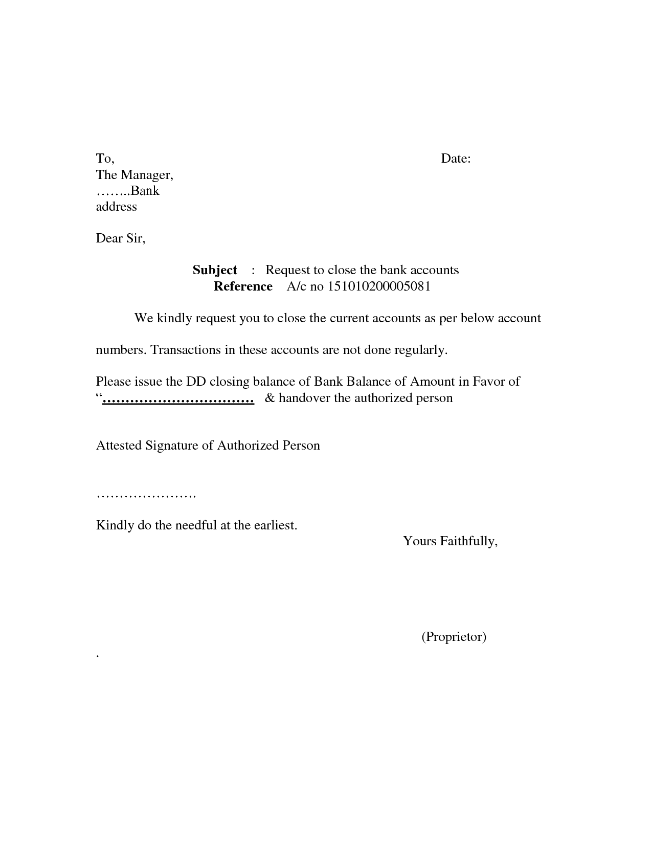 Bank account closing letter format sample cover templates for Account closure letter template