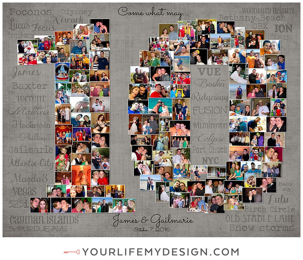 Pin By Aleix Rosell On Regalos In 2020 10th Wedding Anniversary Gift 10th Wedding Anniversary Photo Collage