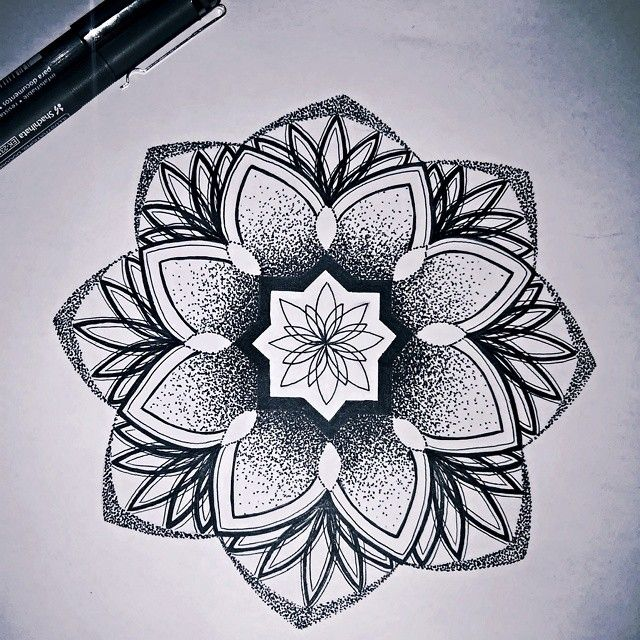 Awesome Dotwork Mandala Flower Tattoo Drawing Ink Flower Tattoo