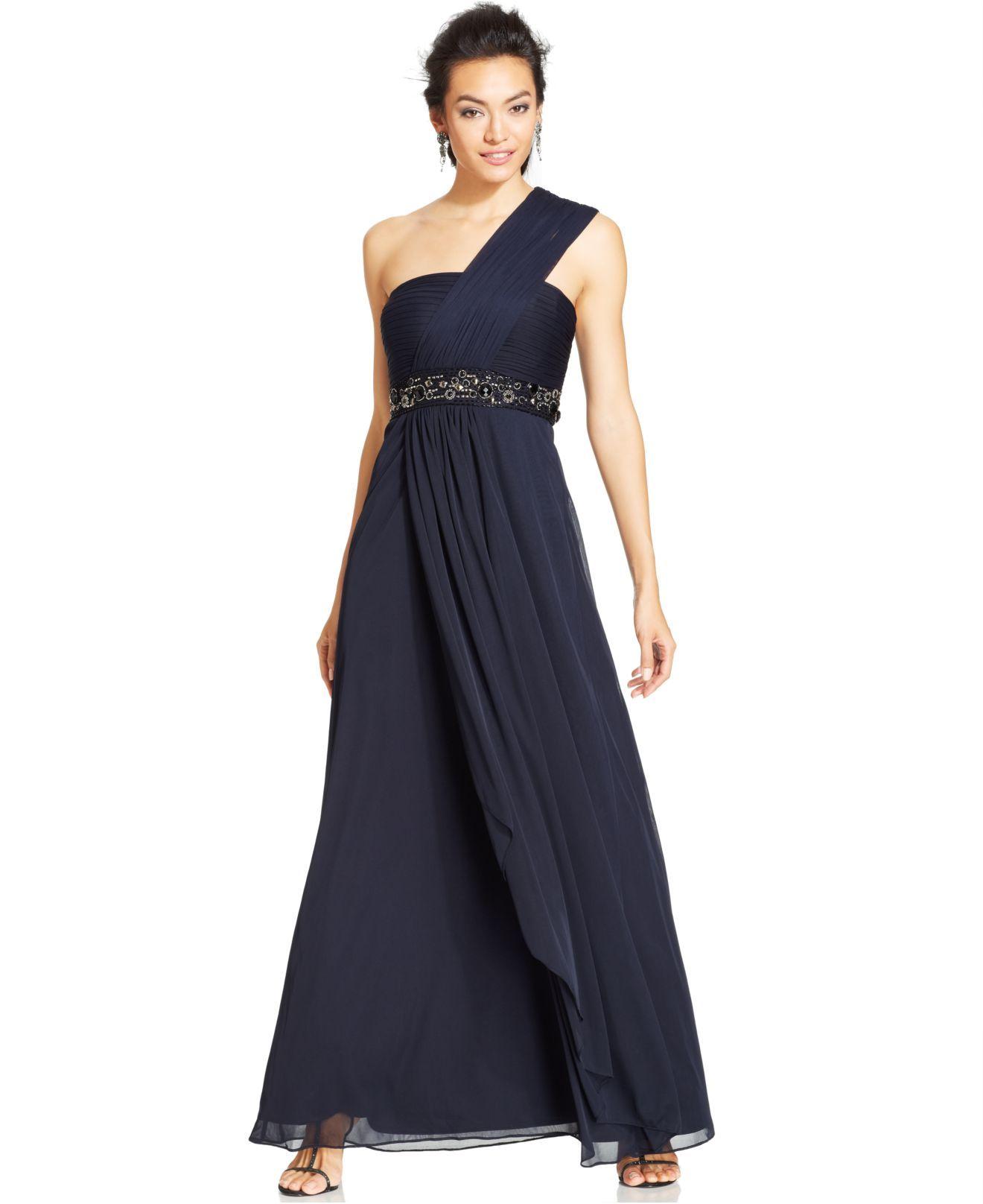 Womens Blue Petite One Shoulder Empire Waist Gown Petite Empire