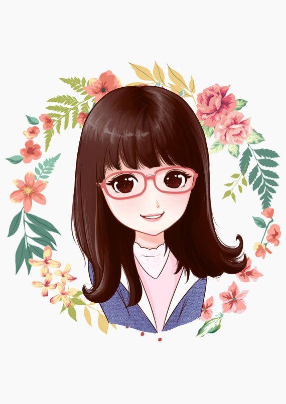 Custom Digital Cartoon Portrait Caricatures By Amazingco On Etsy Anime Portrait Attractive Wallpapers Cute Girl Wallpaper Cute anime portrait wallpaper