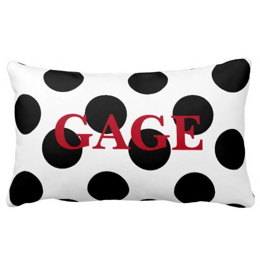 Personalized Black & White Large Polka Dot Pillow