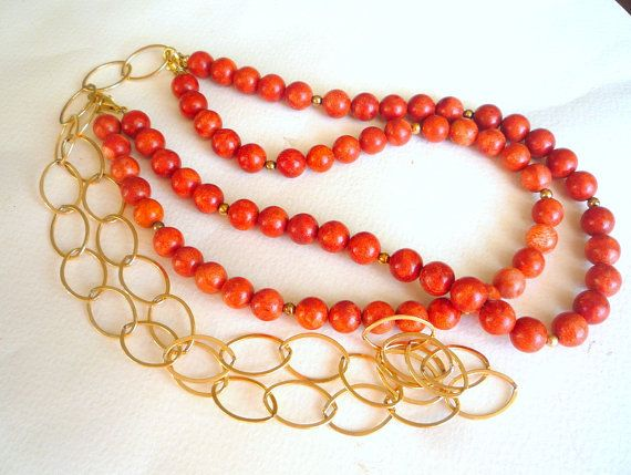 Long Bamboo Red Coral and Gold filled chain, necklace.Double strand necklace.Modern chic necklace.