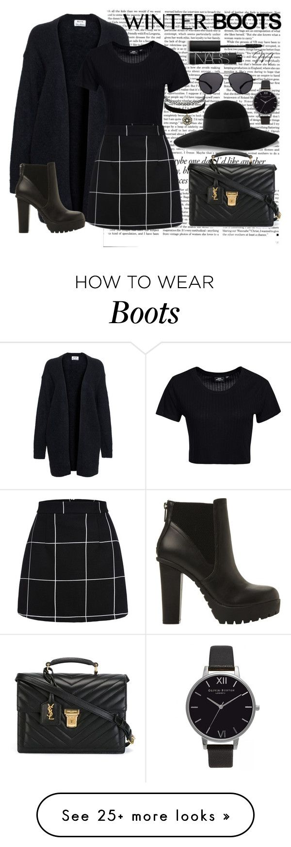 """Black"" by marilynn96 on Polyvore featuring Victoria Beckham, Eugenia Kim, Acne Studios, Dr. Denim, Steve Madden, Olivia Burton, Charlotte Russe, Yves Saint Laurent, The Row and NARS Cosmetics"