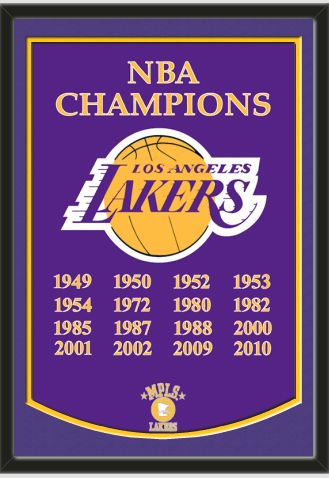 This Framed Los Angeles Lakers Dynasty Banner Double Matted In Team Colors To 26 X 38 Inches 229 99 Artand Lakers Championships Los Angeles Lakers Lakers