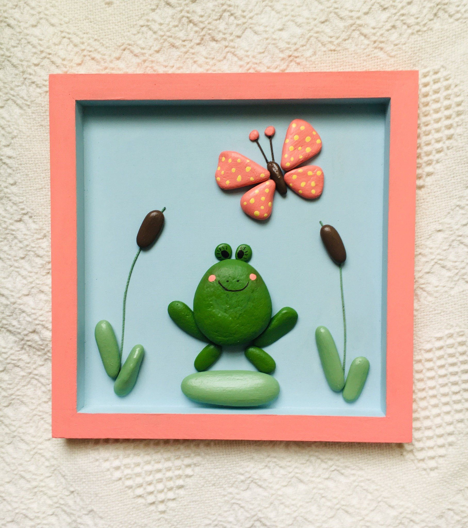 Frog wall art framed, frog decor, painted stone art, wall decor for kid's bedroom, nursery decor, frog decor, unique gift, baby shower gift