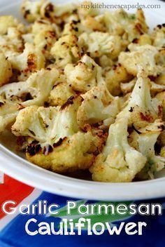 Garlic Parmesan Cauliflower. yum! good dish for a dinner party, but make it one of the last things to go from oven to table.
