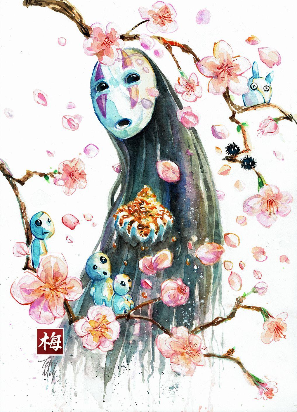 Sakura No Face Friends Studio Ghibli Watercolor Print Sakura Art Ghibli Artwork Ghibli Art