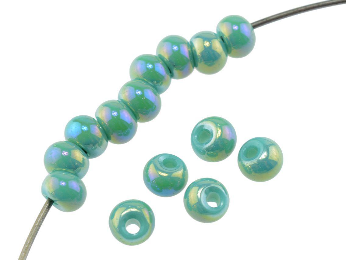 6 mm 50 Jadeimitat Perlen in dunkelgrün